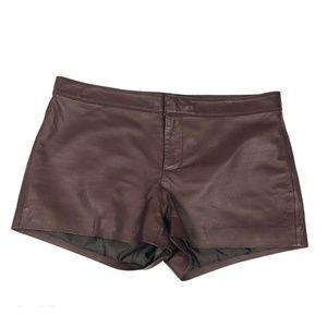 BB Dakota Brown Leather Shorts Small